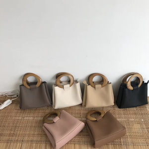 Image 1 - Casual Wooden Top handle Handbags Womens Shoulder Bags Pu Leather Ladies Hand Bags Famous Brands Women Handbags 2020 Hots Bolsa