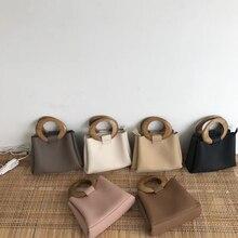 Sacs à main en bois à poignée supérieure pour femmes, à épaule en cuir Pu, sacs à main de marques célèbres, décontracté sacs à main à pois