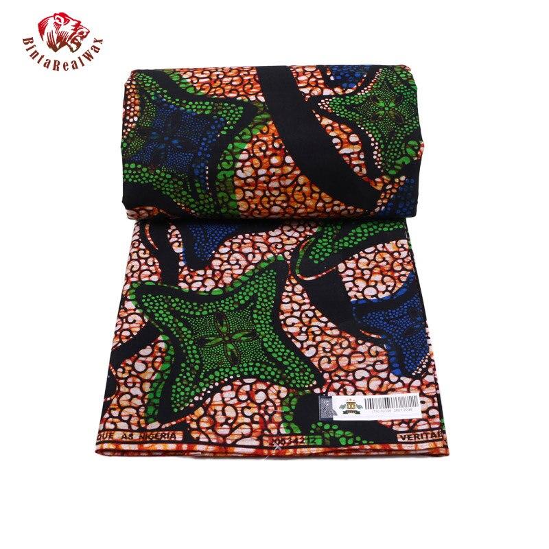 Qualité garantie véritable tissus africains néerlandais réel nouveau bintarealwax vraie cire vêtements africains 100% coton 6 Yards PL487 - 3