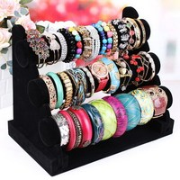 Free Shipping Brand New And High Quality 3 Tier Velvet Watch Bangle Bracelet Jewelry Display Holder