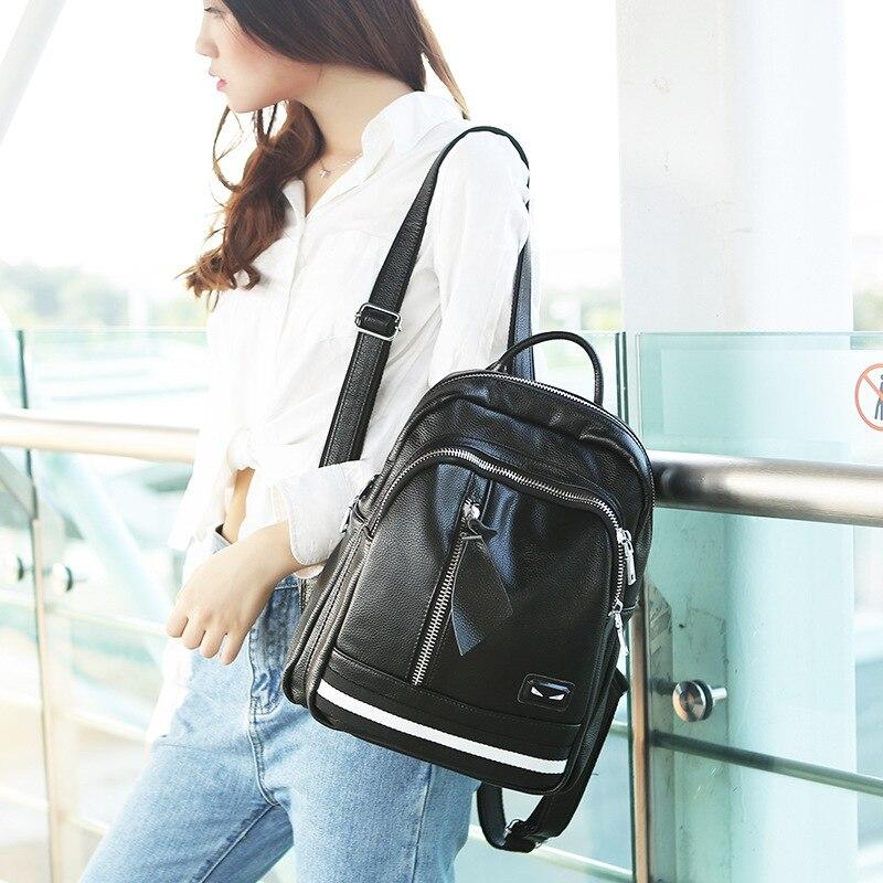 Version coréenne de la ceinture décoration mode cuir sac à dos en cuir femmes marque de luxe monstre sac à dos cartable