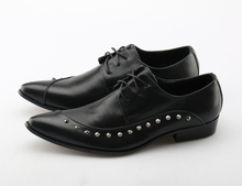 Studded Mens Dress Shoes Genuine Leather Pointed Toe Classic Men Formal Business Flat Shoes Elegant Gentleman Wedding Shoes christia bella fashion handmade formal mens dress shoes genuine leather spikes studded zebra men s evening wedding party shoes