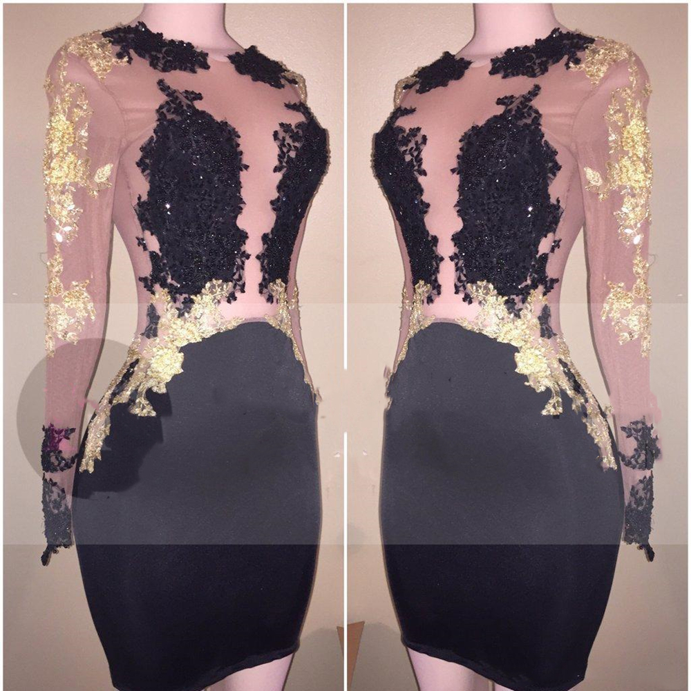 Cheap Black Sheer Long Sleeves   Cocktail     Dress   Mini Short Lace Semi Club Wear Homecoming Graduation Party Gown
