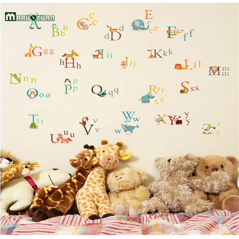2016 New PVC Early Learning Animal Wall Decal Removable ABC Letter Wall Sticker For Kids Room Home Decor
