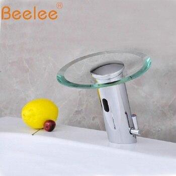 Modern Brass Bathroom Sink Automatic Sensor Mixer tap Hot And Cold Sensor Faucet Glass Waterfall Sensor Faucet Tap(QH0109A)