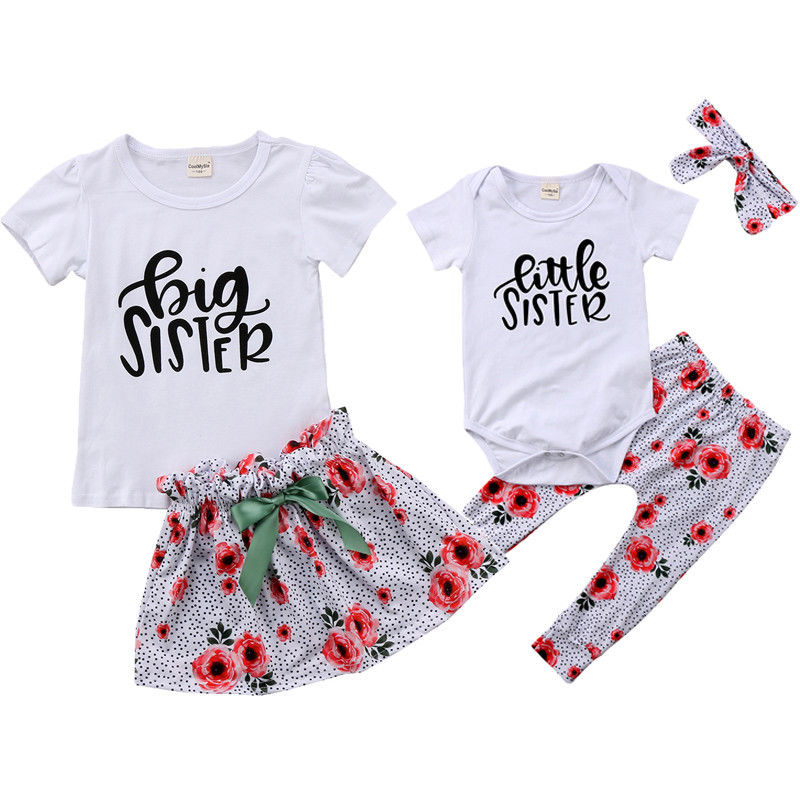 2018 Floral Etwas Big Sister Baby Kinder Mädchen Passenden Weißen Overall Strampler Outfits T-shirt