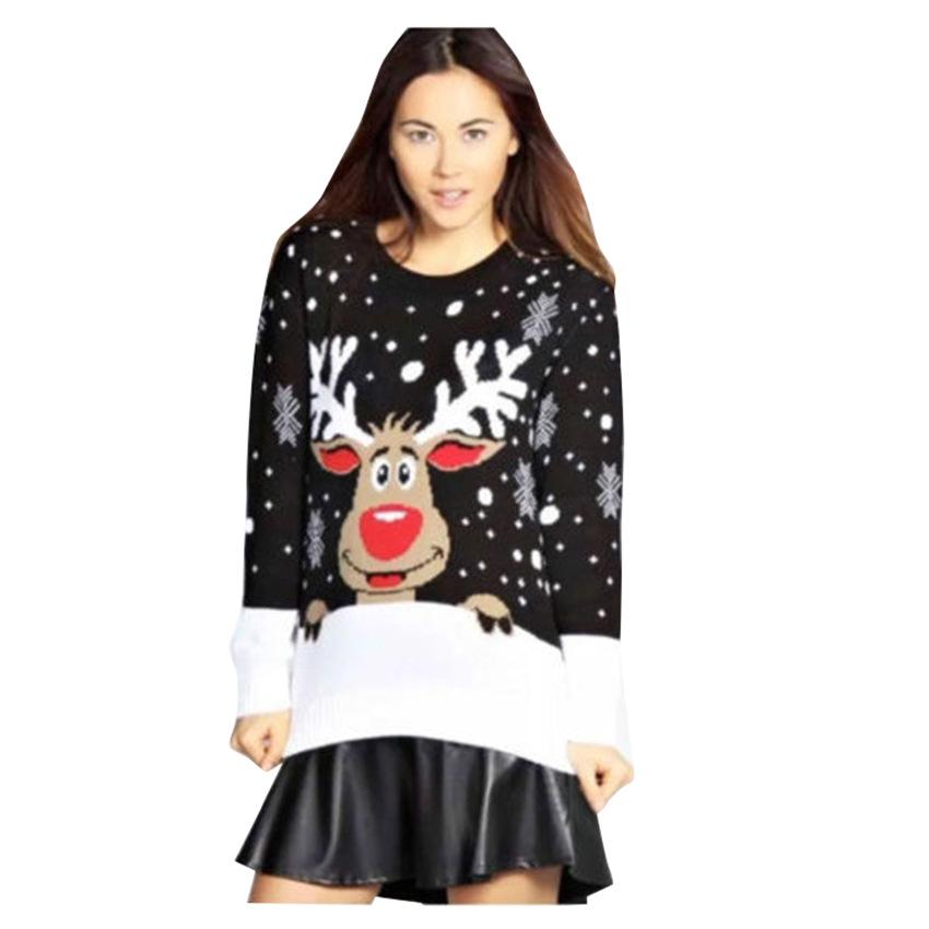 b79c204d79548 Plus size 4XL Jumper snowman Deer Sweaters NEW Santa Claus Xmas ...