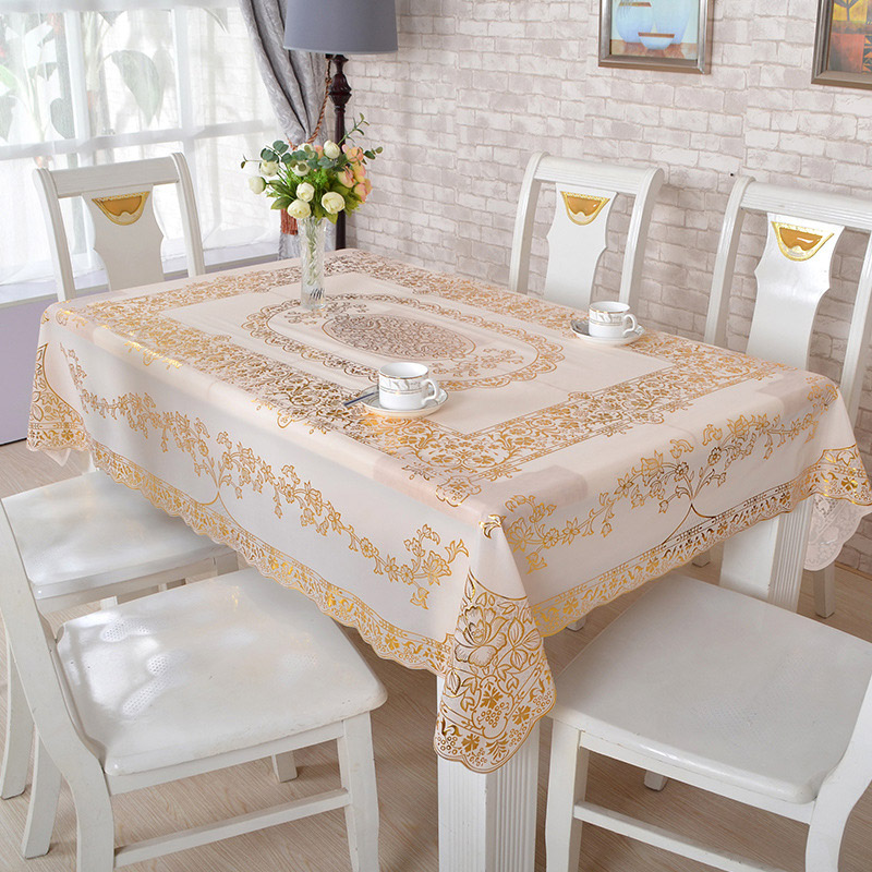 Europe Bronzing PVC Table Cloth Oilproof Waterproof Disposable Plastic Tea Cloth Dining Tablecloth Gold Silver Rectangular