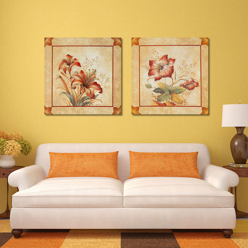 Retro Fashion 2pcs/set red flowers decoration posters wall art ...