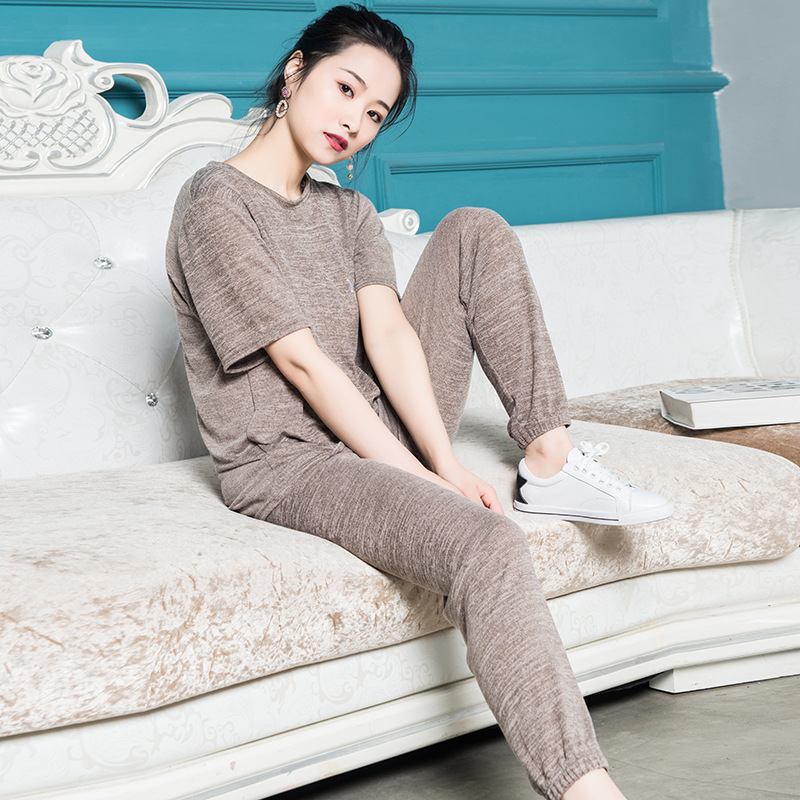 Spring   pajamas   for women female   pajamas     set   short sleeve and long pants one size sleepwear Knitted cotton casual home suit