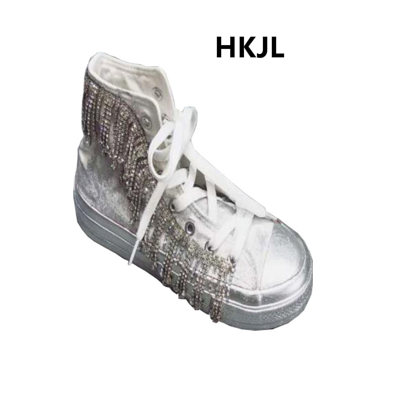 New Womens White Canvas Rhinestones Floral Sequins Sport Sneakers High Top Shoes