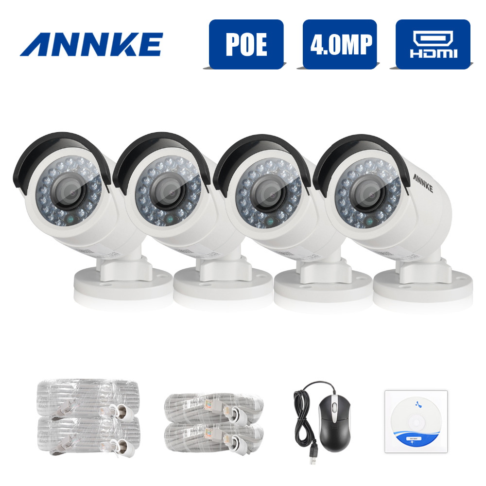 ANNKE 4pcs HD 4MP IP Network PoE Outdoor IR CUT 3D DNR CCTV Home Security Camera System laptop lcd slim 4k led screen display panel matrix ltn156fl02 l01 lp156qd1 spb1 ltn156fl01 d01 uhd 3840x2610 for lenovo y50 70