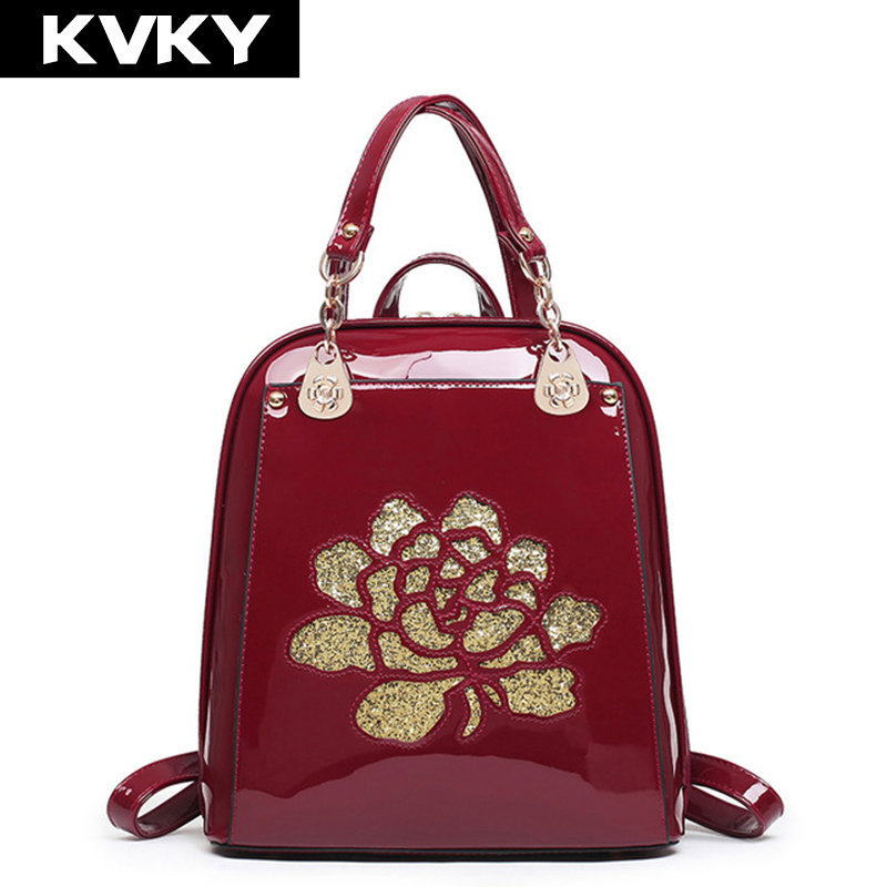 KVKY Brand Fashion Women Backpacks High Quality Patent Leather Backpacks School Shoulder Bags Ladies mochila for Teenage original print head for epson t50 r290 a50 tx650 p50 px650 px660 rx610 printhead for hot sales