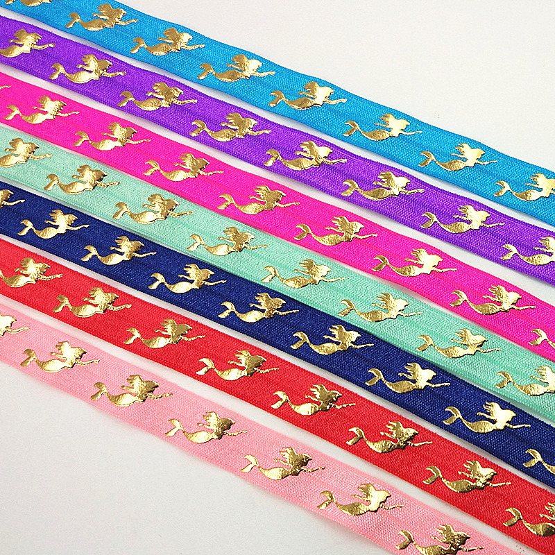 Q&N Ribbon Wholesale/OEM 5/8inch 16mm Gold Foil Mermaid Printed Folded Over Elastic FOE 50yds/roll For Hair Tie