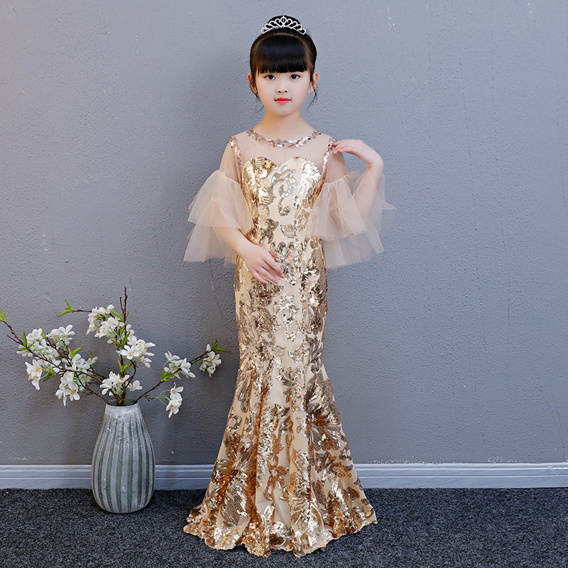 Tailing Flower Girl Dresses Mermaid Wedding Birthday Party Gown For Kids Girl Pageant Dress Sequins Princess