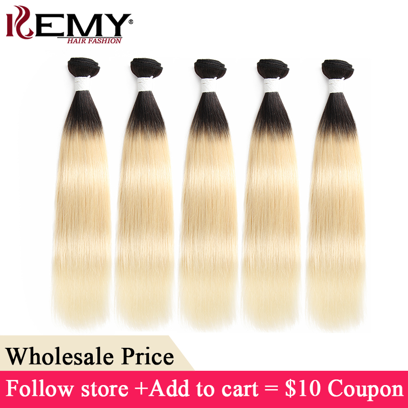 Ombre Blonde Straight Human Hair Bundles KEMY HAIR 8-26 Inch Brazilian Remy Hair Weave Bundles Fast Shipping Wholesale Hair(China)