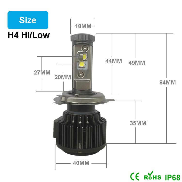 New H4 CREE LED Motorcycle Headlight Bulb 4000LM 40W HiLo 20W Low Beam Conversion Kit 3000K 4300K 6000K DC 12V P43T Headlamp (12)