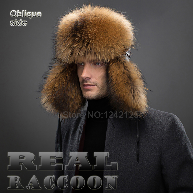 New winter Russia Boy men warm Noble real genuine leather top raccoon fur hat cotton lining Gift ear Earmuff  fur hats cap