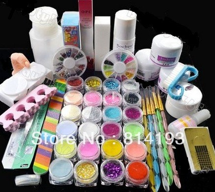ФОТО  stylish Nail Art Kit Set crytal Acrylic powder liquid primer UV dust stickers brush ,2018