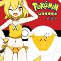 Cosplay pokemon go Pikachu sexy cute kawaii harajuku cartoon yellow lacing print panties cotton hollow out underwear women