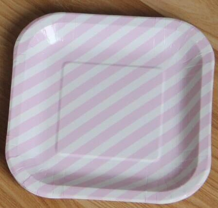 Mixed Color Striped Party Square Paper Plates Dishes Bulk Wedding Birthday Christmas CP058-in Disposable Party Tableware from Home u0026 Garden on ... & Mixed Color Striped Party Square Paper Plates Dishes Bulk Wedding ...