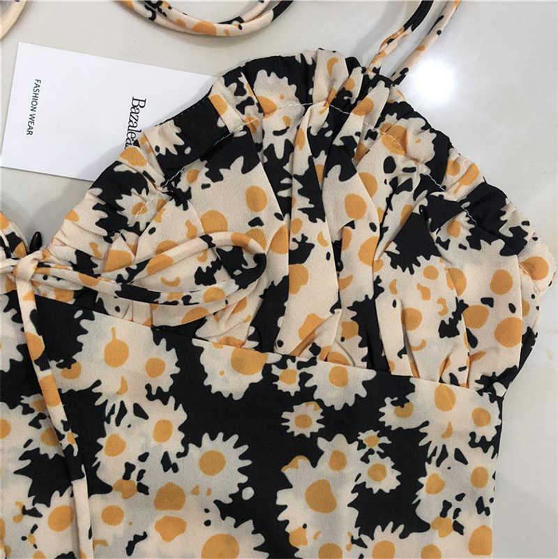 Bazaleas Thời Trang Hoa Điện shoulder tie mùa hè Ăn Mặc nén lại mini dresses Bustier eo Khum bức tượng bán thân với pleat vestido