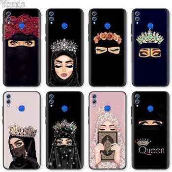 Перейти на Алиэкспресс и купить Мусульманские исламские глаза для девочек арабский хиджаб черный мягкий чехол для Huawei Honor 8X 9X K20 Pro K30 5G Play 3 3e 20 10 Lite чехол