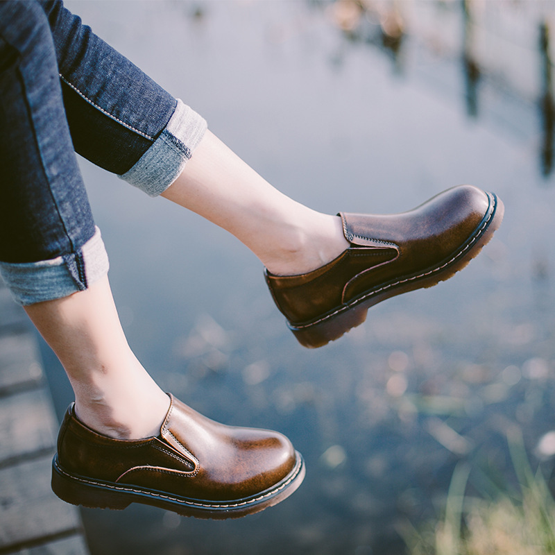 Women's oxford shoes classic black genuine leather shoes fashion slip-on casual students shoes size 35-40 a506w