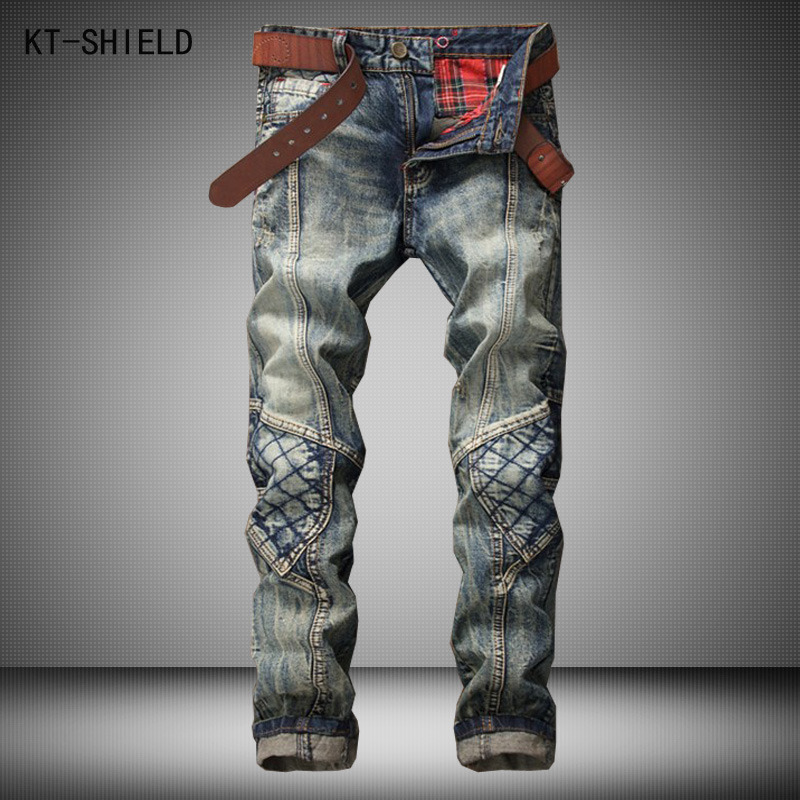 New Men Personality Night Club Jeans Patchwork Spliced Ripped Denim Jeans Mens Straight Slim Patch Beggar Hole Pants Plus size 2017 fashion patch jeans men slim straight denim jeans ripped trousers new famous brand biker jeans logo mens zipper jeans 604