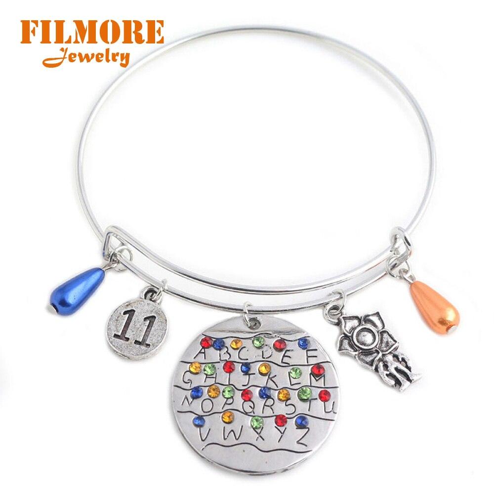 Stranger Things Charms Bracelet Eleven Letters Monster Handstamped Alphabet Light Wall Beads Bangles Bracelets for Women Jewelry
