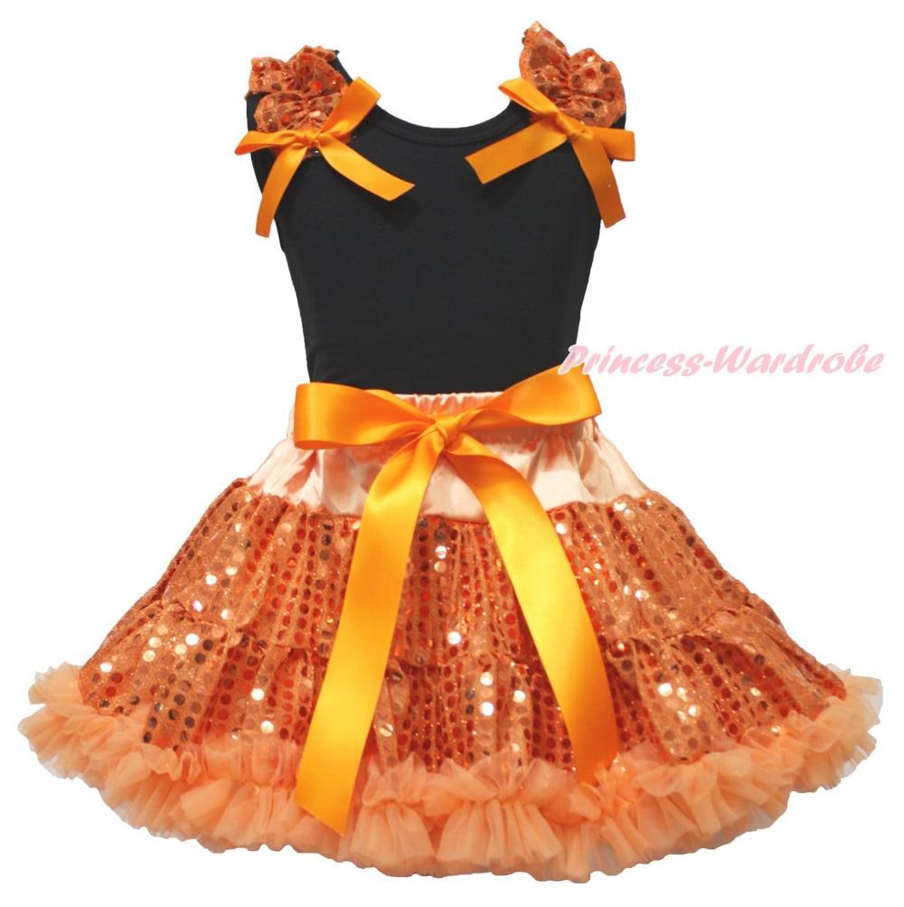 Halloween Black Top Orange Bling Sequins Girls Skirt Clothing Outfit Set 1-8Year цена 2017