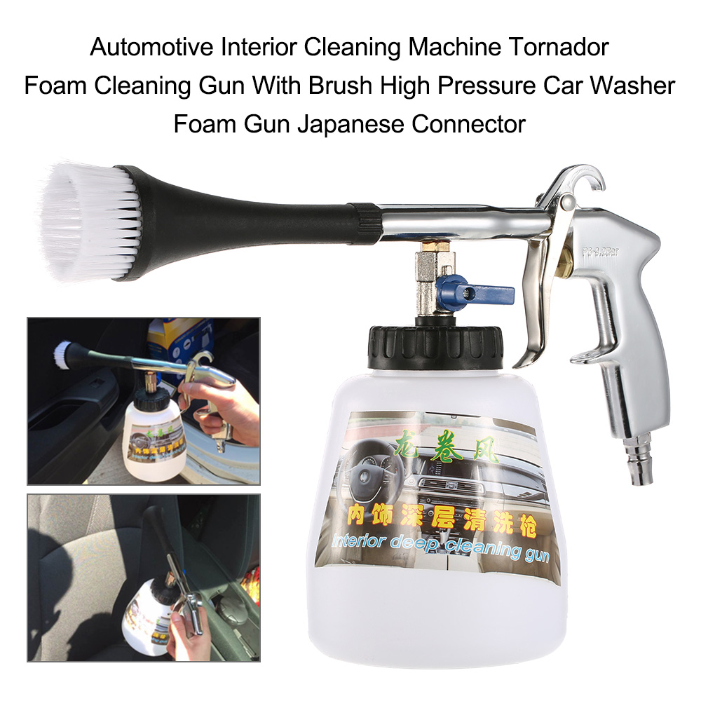 Car Automotive Interior Cleaning Machine Foam Cleaning Gun With Brush High Pressure Car Washer American Japanese Connector high pressure air pulse car cleaning gun with brush multifunctional surface interior exterior cleaning kit eu type fast cleaning