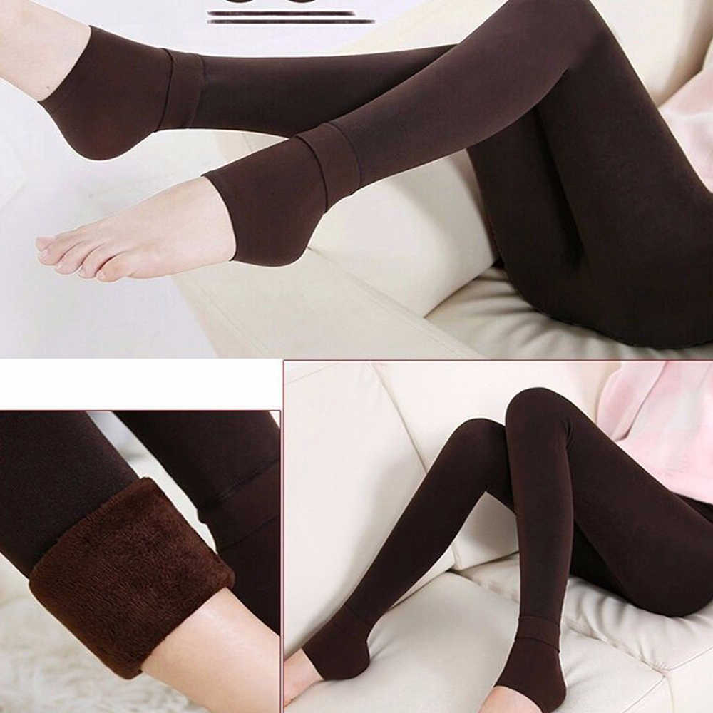 293865cd7ebb8 ... 1 Pair Women's Fashion Solid Winter Thick Hosiery Warm Fleece Lined  Thermal Stretchy Trousers Slim Footless ...