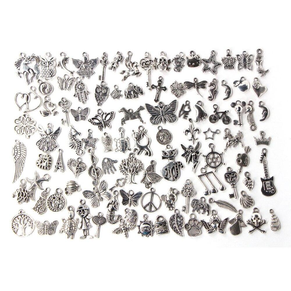 100 шт./лот смешанные старинное серебро Цвет Европейский Браслеты Шарм Подвески Модные украшения делая Выводы DIY Подвески ручной работы