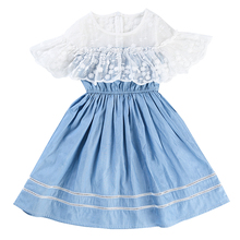 Baby Girl Dress For Girls Cotton Blue Party Birthday Costume Princess Shool Summer Lace Clothes Children Kids 6 7 years Dresses girls party dress disfraz princesa 2017 brand kids dresses princess costume lace 2colors children dress girl clothes