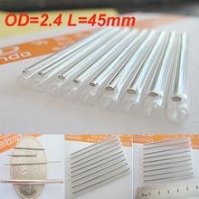 100 pièces OD2.4 45mm fibre optique Fusion épissure Protection manches, fibre câble protecteur thermorétractable Tube Transparent