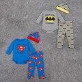 2016 Мода Мультфильм супермен/бэтмен детская Одежда Устанавливает 100% хлопок детская одежда 3 шт. с длинным рукавом младенческой комбинезон + брюки + шляпа