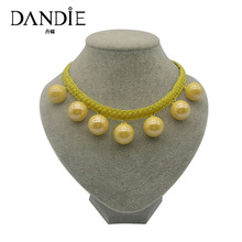Dandie Yellow Acrylic Bead Necklace, Braided Necklace Fashion Jewelry For Women dandie black acrylic bead fashion necklace jewelry short statement necklace