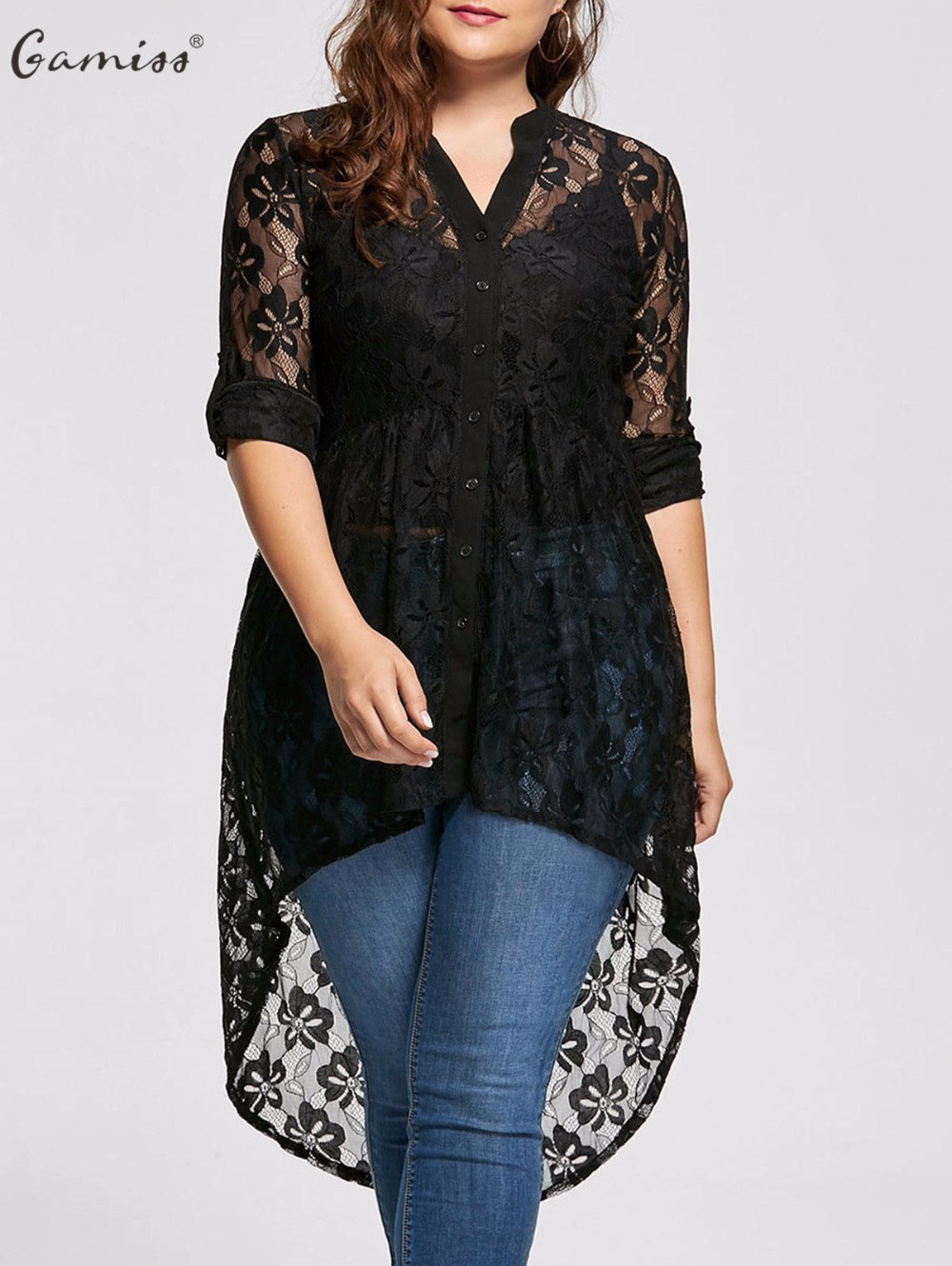 Gamiss Women Plus Size Blouse Autumn peplum Long Sleeve High Low Lace Shirts Tunic Through Button Up Women Tops and Blouse 5XL
