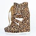 Leopardo de Las Mujeres Zapatos de Cuña Tacones Punta Redonda Cut-Out Zapatos Inferiores de Las Mujeres Desnudas de la Plataforma Tamaño 12 Bombas Al Por Mayor En Línea zapatos de Las Mujeres