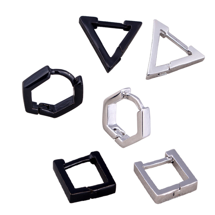 Hot Sale Men Women Punk Geometric Earrings Stainless Steel Silver Black Triangle Square Hexagon Hoop Earrings