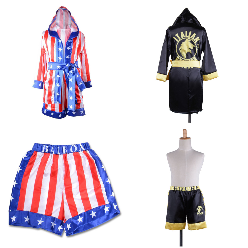 2019 Rocky Balboa Apollo Movie Boxing American Flag Cosplay Costumes Kids Boy Shorts Robe Boxing Costume Boxing Training Outfit