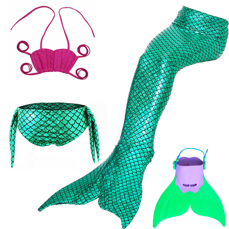 Little Mermaid Tails For Swimming Children Swimmable Suit Monofin Costume Mermaid Tail Cosplay Girls Swimsuit Kids