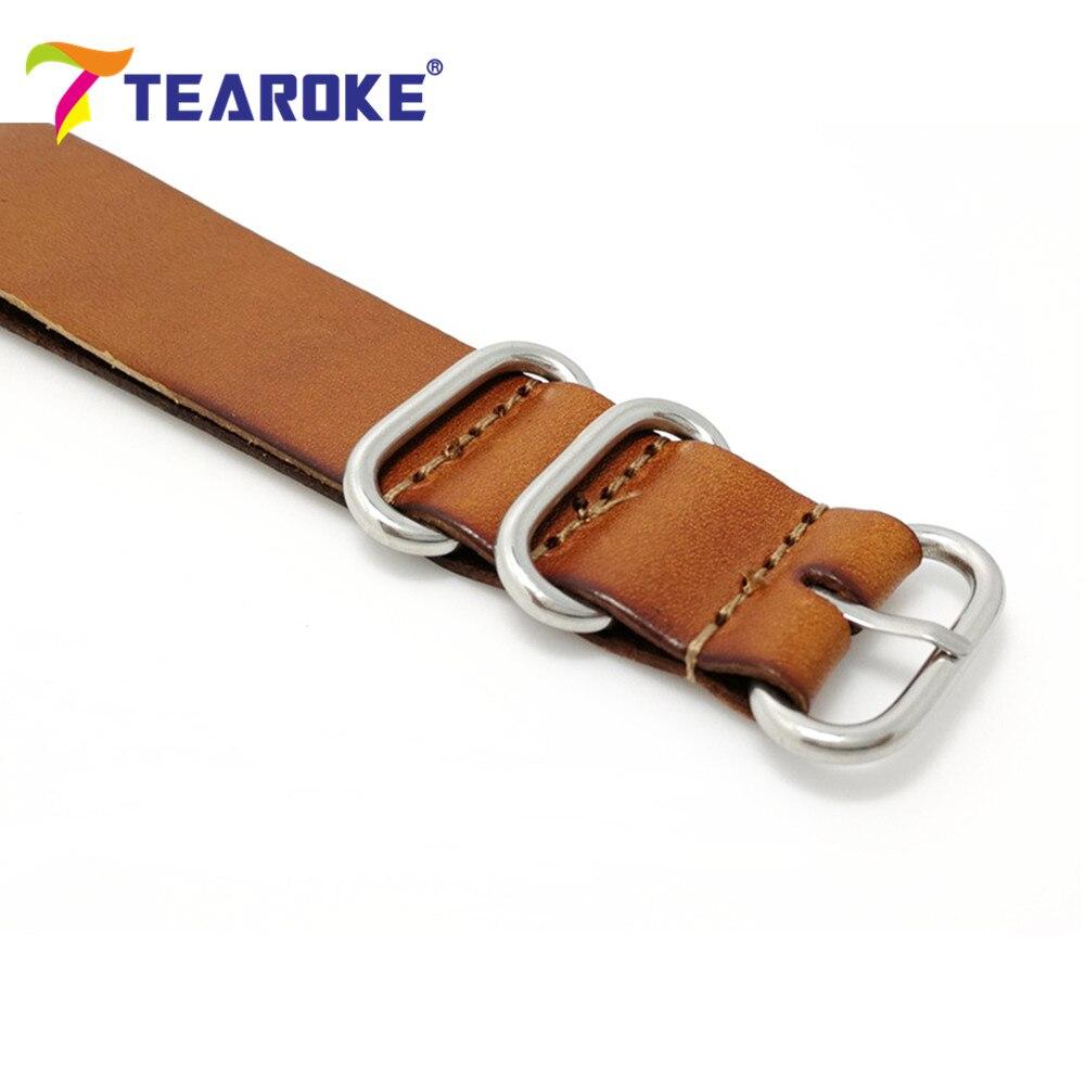 TEAROKE ZULU Læderurband NATO Watch Band Strap 18mm 20mm 22mm Sliver - Tilbehør til ure - Foto 5