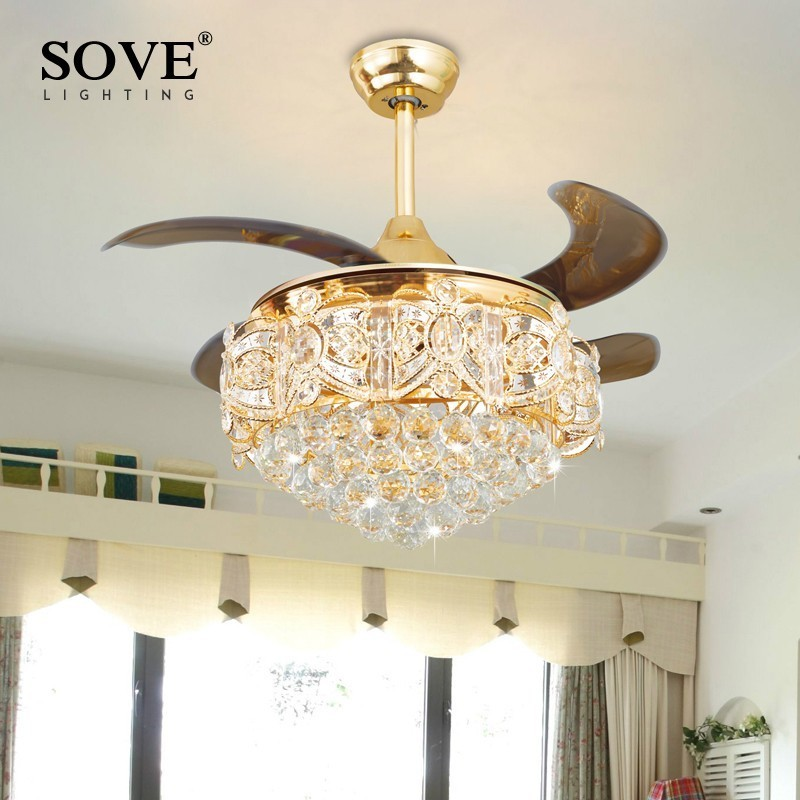 Modern LED Luxury Gold Contemporary Folding Crystal Ceiling Fans With Lights Remote Control Ventilador Teto Techo