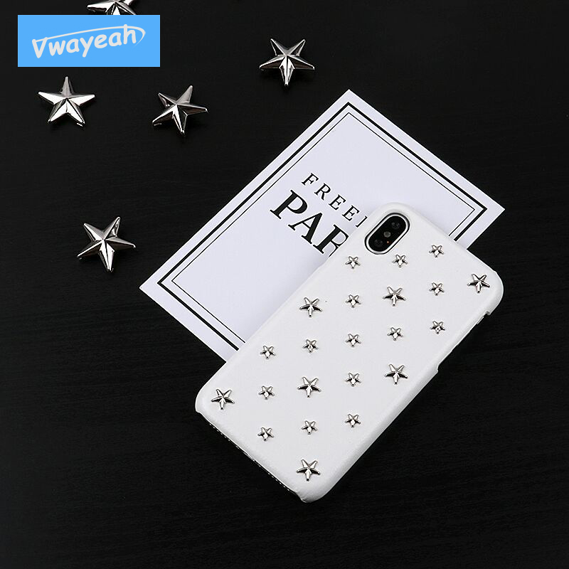 For iPhone X 10 iP 6 6s 7 8 Plus Pu leather With 3D Metal Five-pointed Star Rivet Ins Hot Fashion Personality Case Cover
