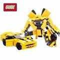 221 unids Transformar Series Abejorro Modelo de Construcción de Ladrillos DIY Bloques de Construcción juguetes Robot 2 En 1 el Vehículo Sport Gudi 8711 regalo