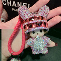 MONCHHICHI Keychain PU Leather Keychains Porte Clef Monchichi Pendant Keyring For Keys Woman Bag Charm Monchichi Sleutelhanger