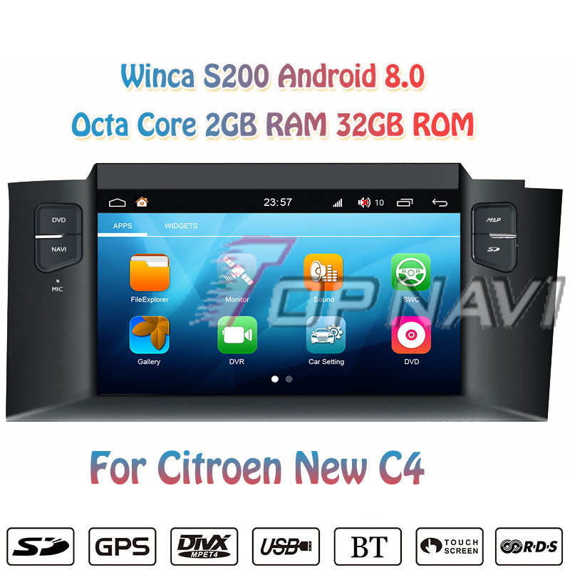 Topnavi 7 S200 Octa Core Android 8.0 Car Multimedia Player Radio for Citroen New C4 Stereo Radio GPS Navigation 2 Din NO DVD