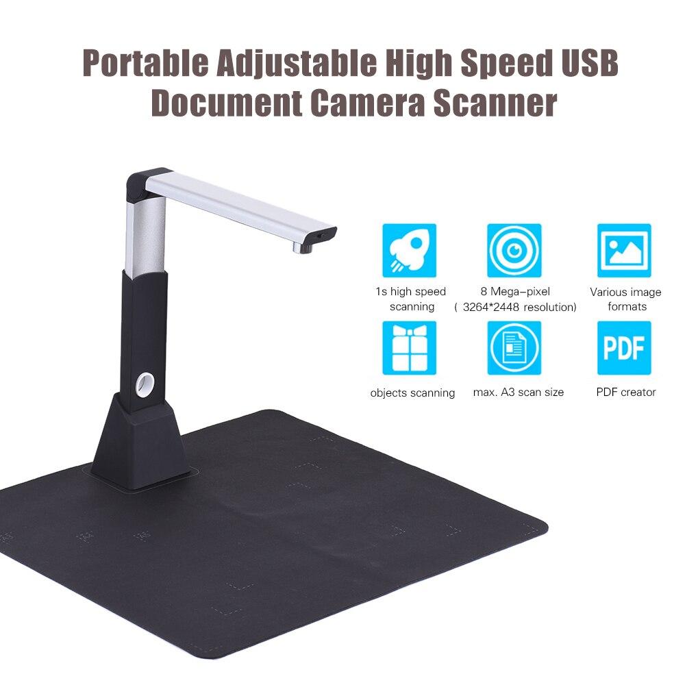 Scanner portatif de caméra de Document d'image de livre d'usb à grande vitesse réglable A3 8 méga-pixel HD Max avec la fonction d'ocr lumière LED